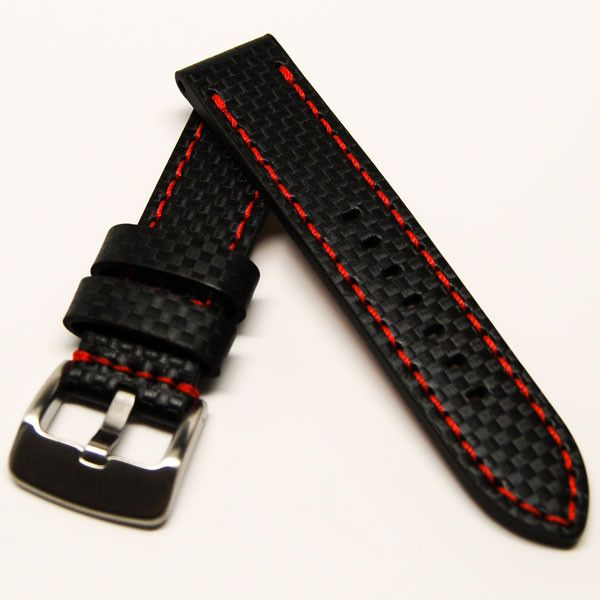 f5c2a6b39d2 LUX black leather carbon fiber embossed pattern watch strap with red  stitching