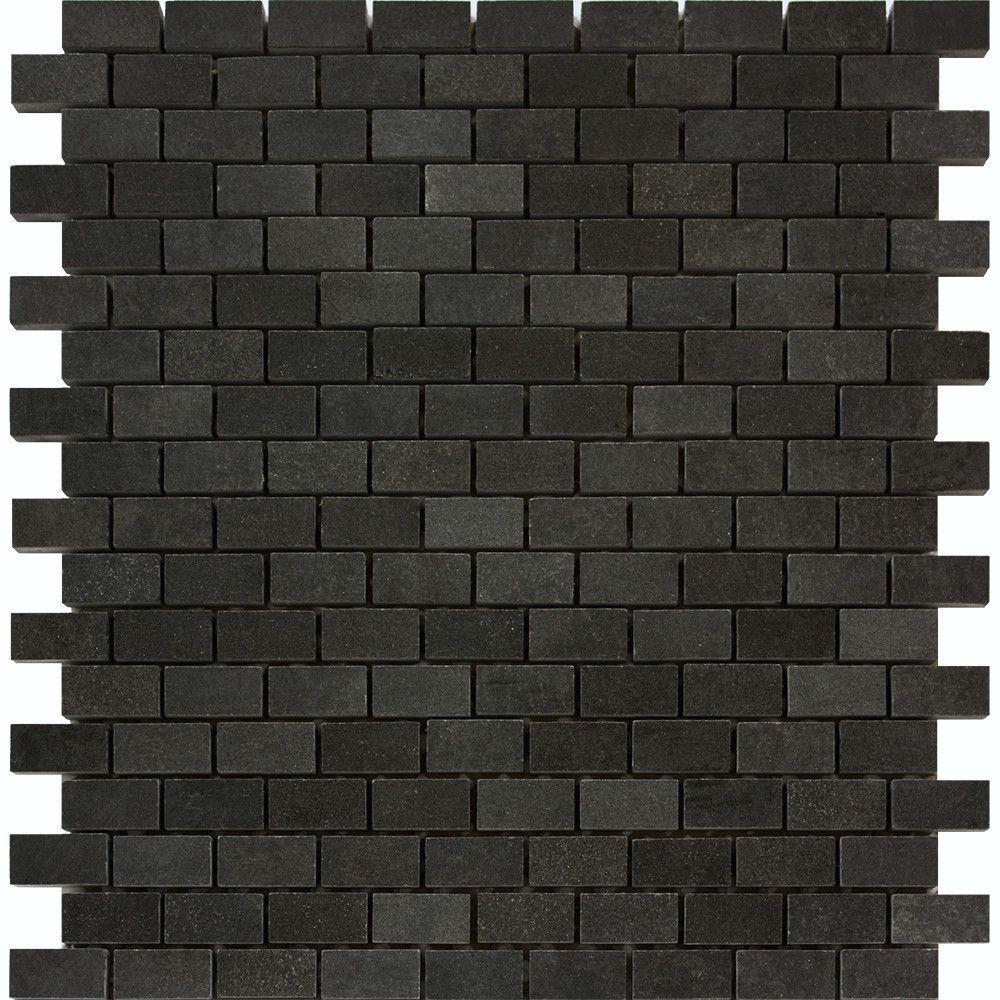5/8 x 1 1/4 Polished Basalt Baby Brick Mosaic Tile