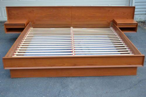 platform beds with floating nightstands teak king size floating platform bed with attached. Black Bedroom Furniture Sets. Home Design Ideas