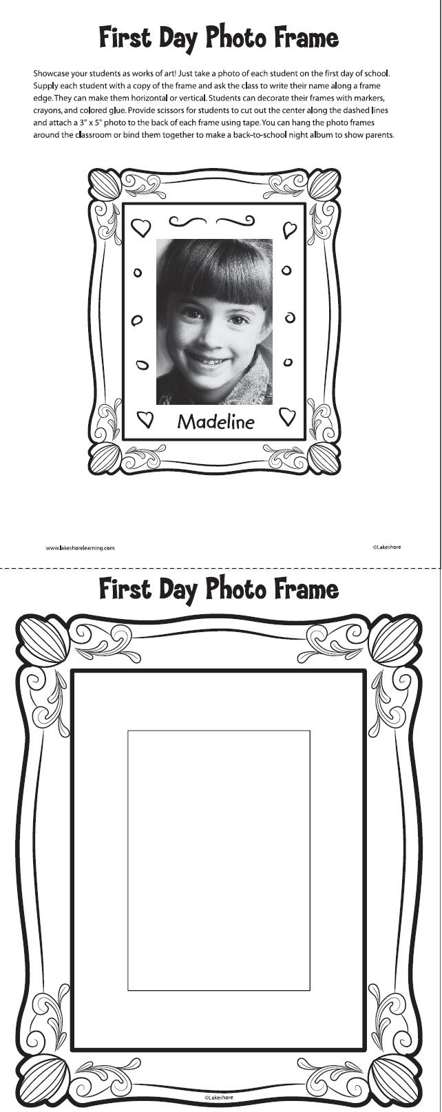 First Day Photo Frame Printable from Lakeshore. #