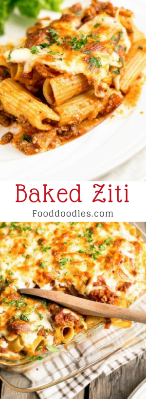 Baked Ziti With Sour Cream Food Doodles In 2020 Baked Ziti Delicious Dinner Recipes Food Doodles