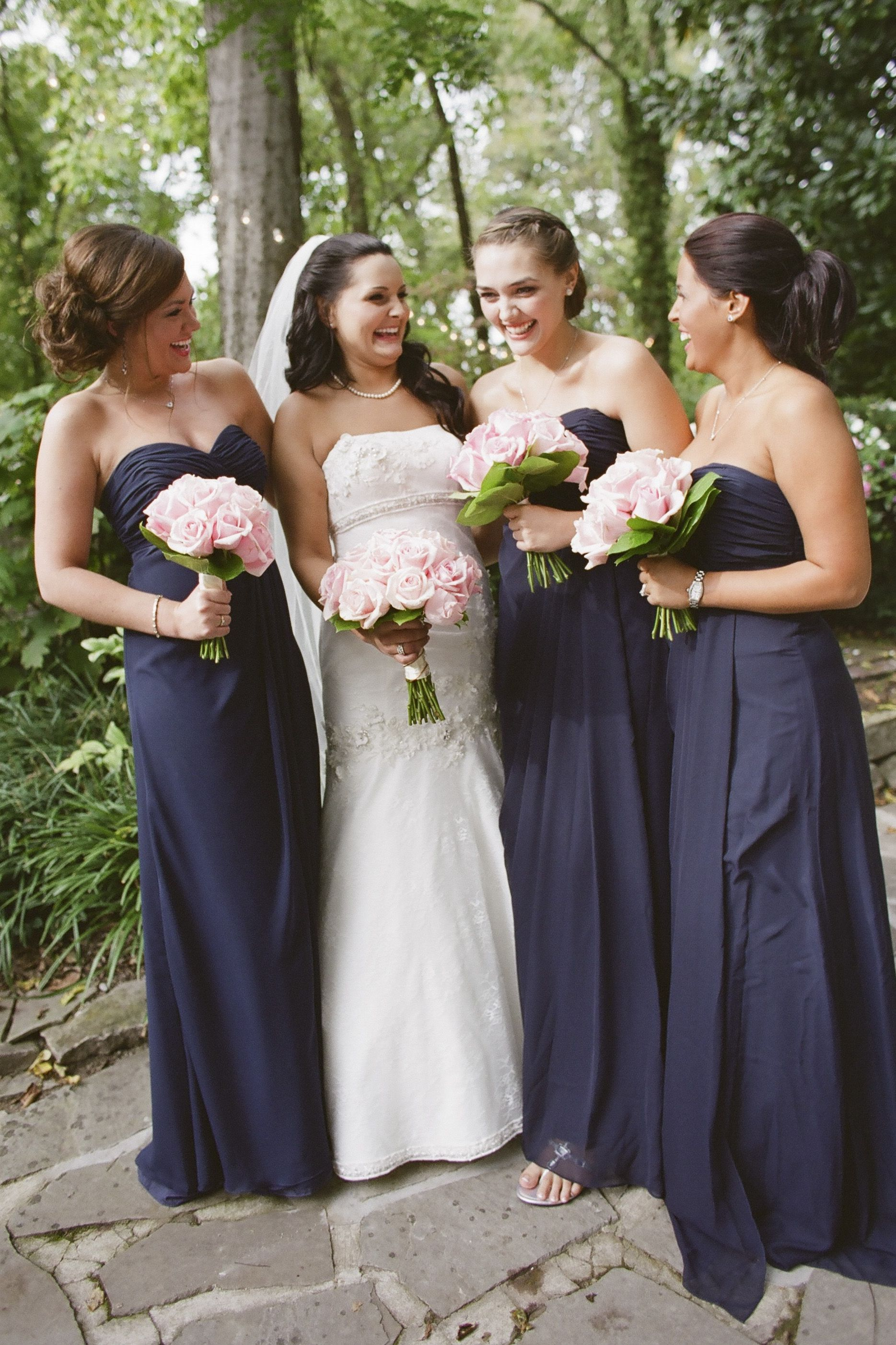 Nashville garden wedding pink bridesmaid bouquets navy blue garden wedding venue pink bridesmaids bouquets navy blue bridesmaid dresses photo jhenderson ombrellifo Gallery