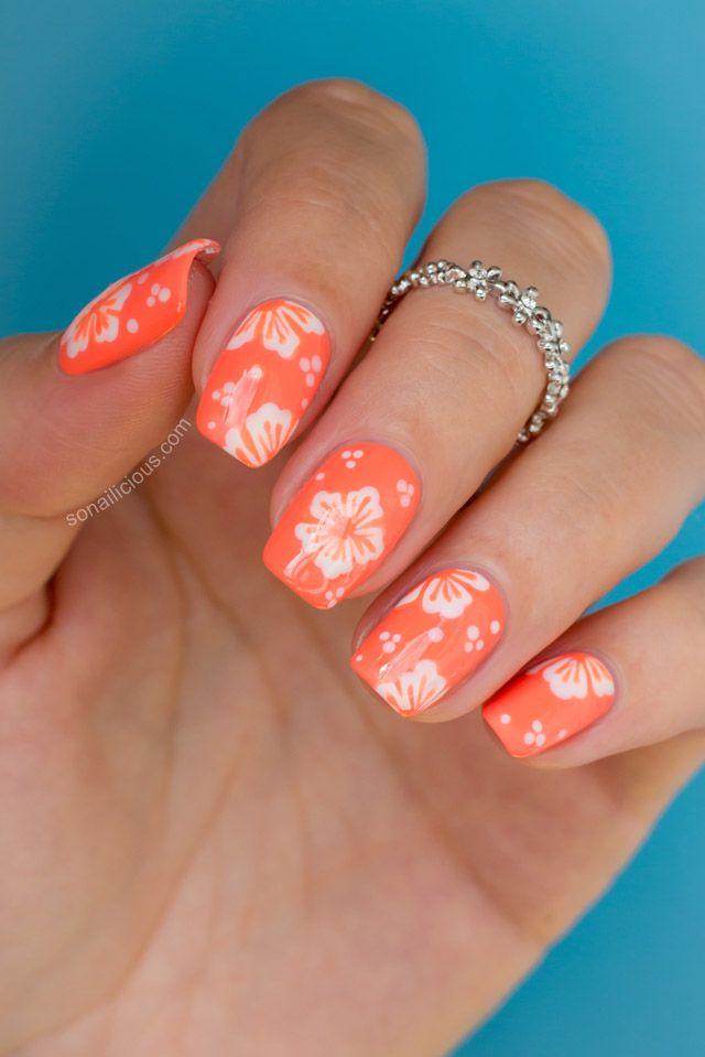 Hawaii nail art. TUTORIAL: http://sonailicious.com/hawaiian-flower-nail-art -tutorial/ - Hawaiian Flower Nail Art Tutorial Hawaiian Flower Nails, Flower