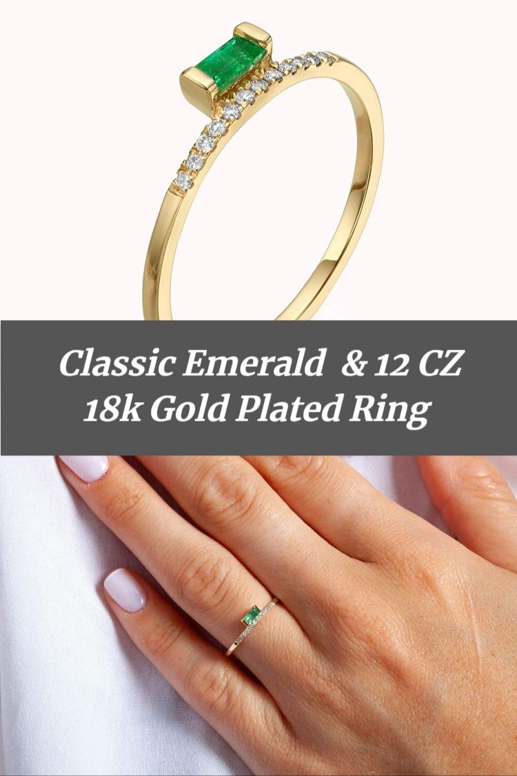 Genuine Emerald Baguette & Simulated Diamond Ring For Women