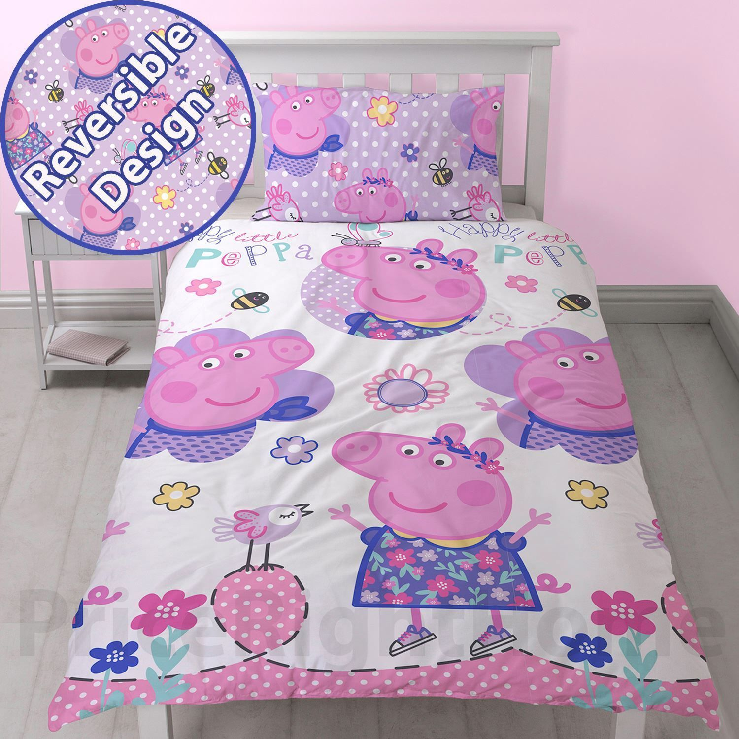 Peppa Pig Happy Single Duvet Cover Set Reversible New All Things
