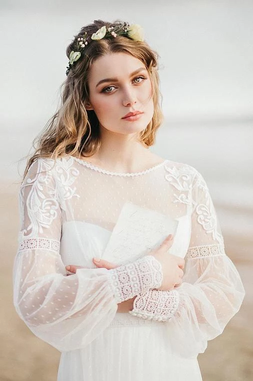 Elegant A Line See Through Long Sleeve Lace Appliques Ivory Beach Wedding Dresses uk PH873