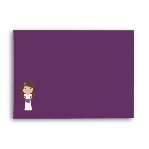 Funky Cartoon Bride Bridal Shower Purple Custom Envelope