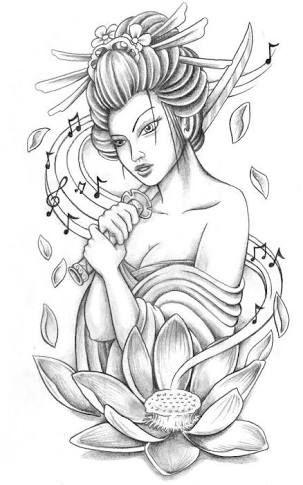 Resultado De Imagem Para Gueixa Desenho Tatuagem De Gueixa