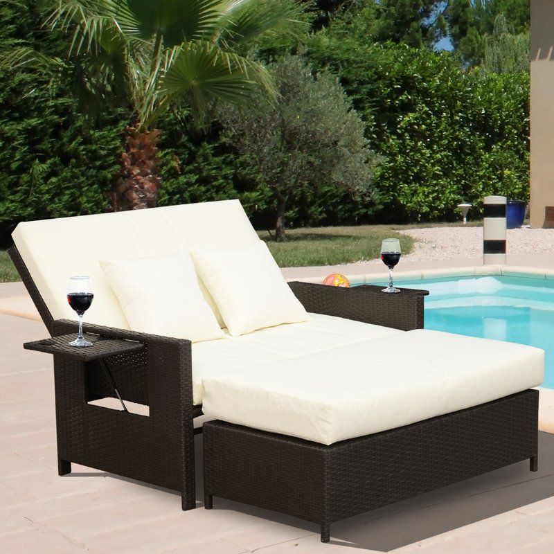 Ebern Designs Abernathy Double Reclining Chaise Lounge With Cushion Wayfair Wicker Chaise Lounge Lounge Chair Outdoor Double Chaise Lounge
