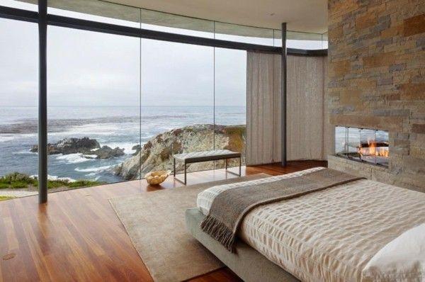 Schlafzimmereinrichtung Glaswand Steinwand spektakuläre Aussicht - schlafzimmer mit ausblick ideen bilder