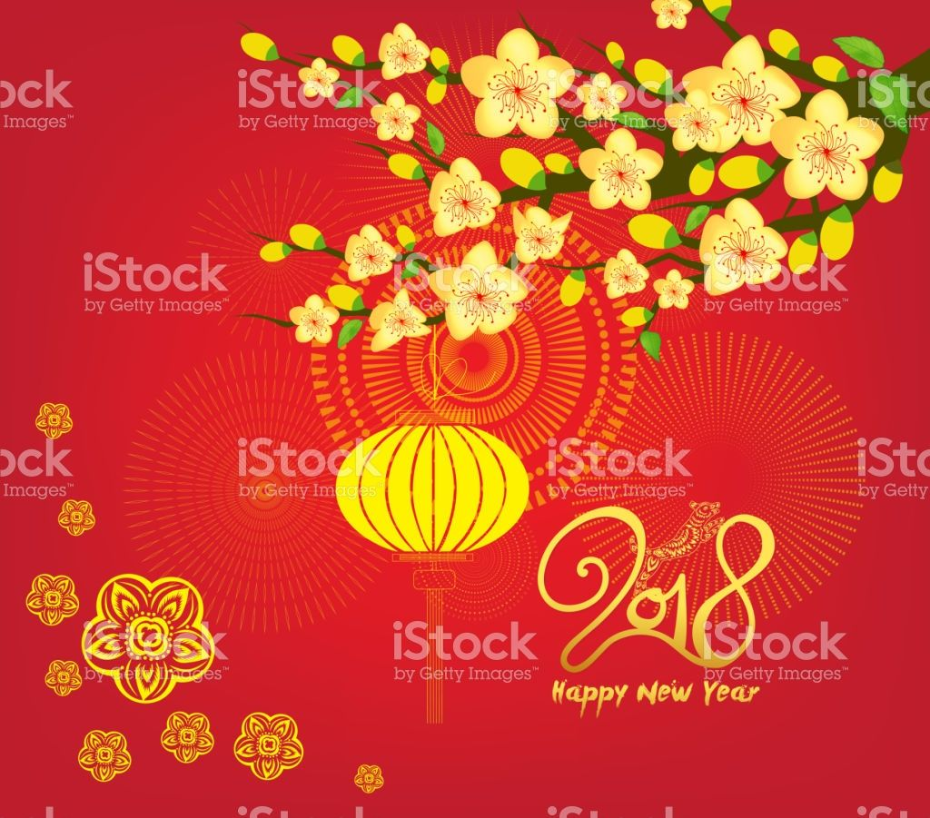 Happy new year 2018 greeting card and chinese new year of the dog happy new year 2018 greeting card and chinese new year of the dog cherry blossom kristyandbryce Choice Image