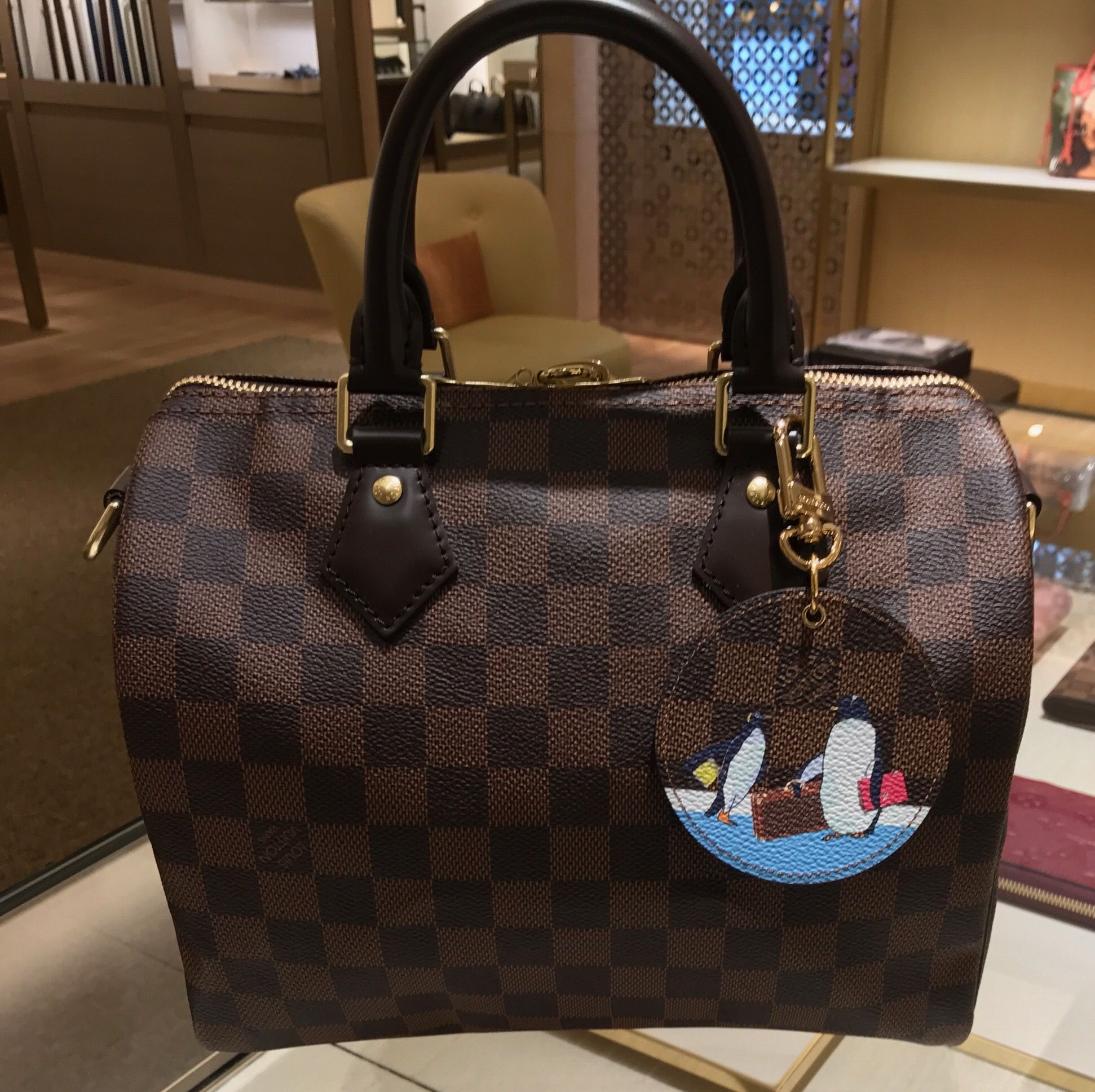 509830bba732 Louis Vuitton penguin charm from Christmas animation 2017 release on Damier  Ebene Speedy B 25