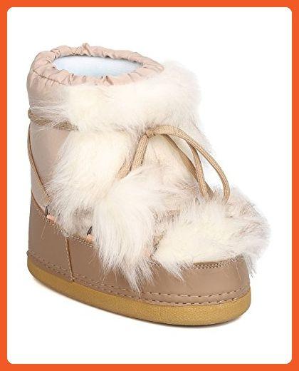 separation shoes e6e24 6b76f Cape Robbin GA03 Women Mixed Media Pom Pom Lace Up Moon Boot ...