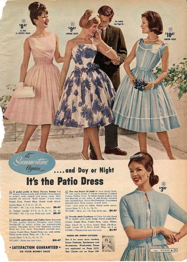 Fashion 1940s Two Female Models Flirty 40s Style Evening: Montgomery Ward Summer 1961 Catalog