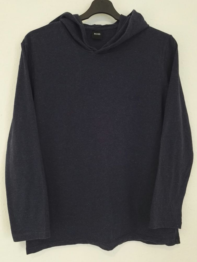 6a49e3c68 Hugo Boss Mens Jumper Sweatshirt Hoodie Navy Blue Spots Embroidered Logo  Size M