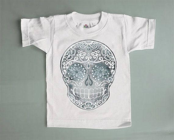 Grey White 2T 3T Skull Shirt. Trendy Boys Toddler by BonesNelson