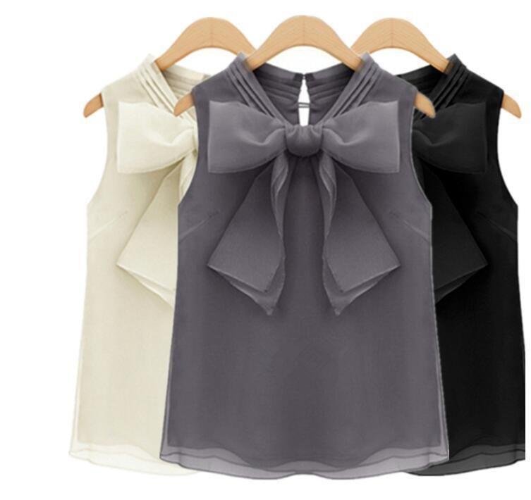 ae521ab3a7dd19 Women Loose Shirts Sleeveless Bowknot Chiffon T-Shirts Vest Casual Tops  Blouses