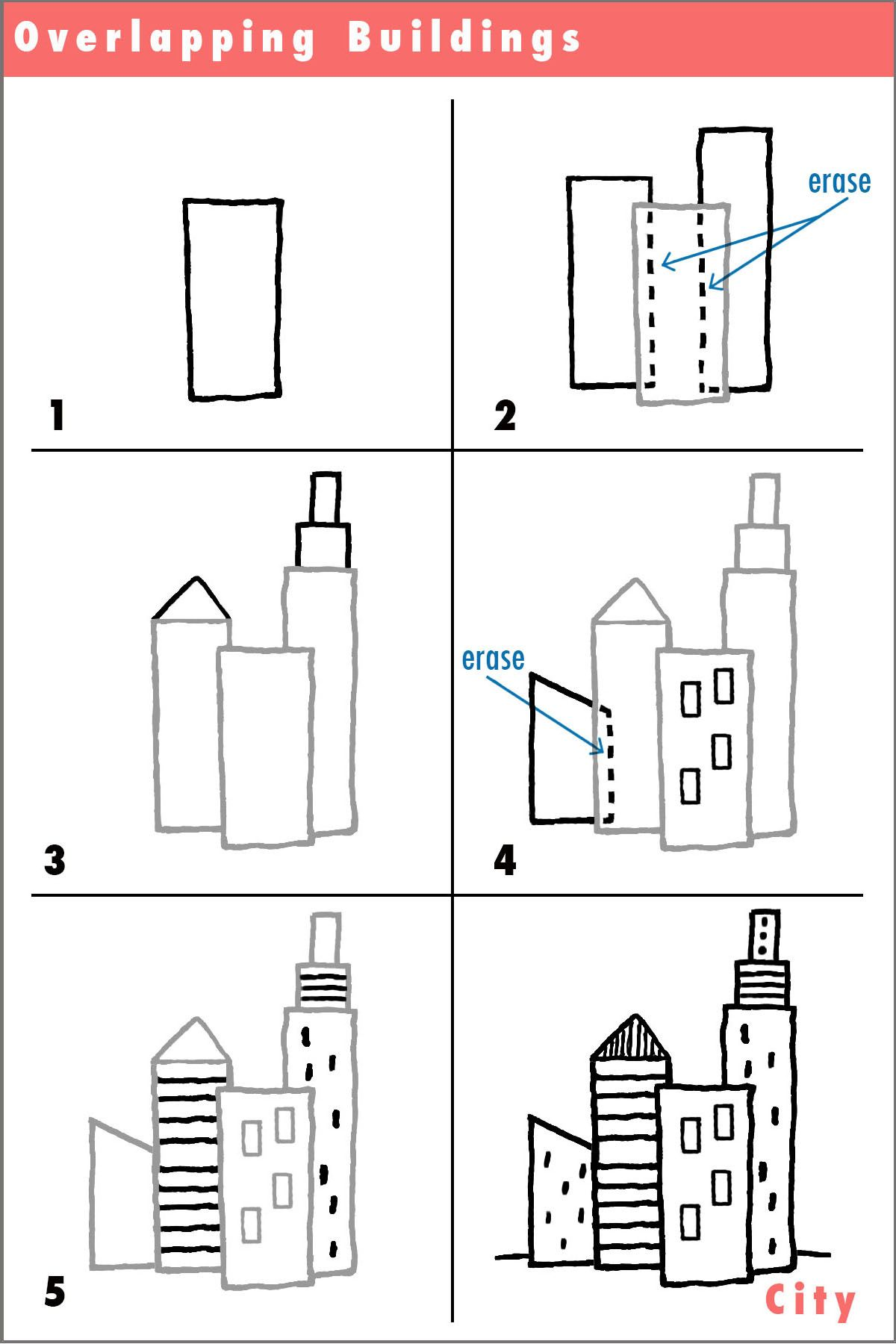 Draw a City! (learning to overlap) | Draw | Drawings, Easy