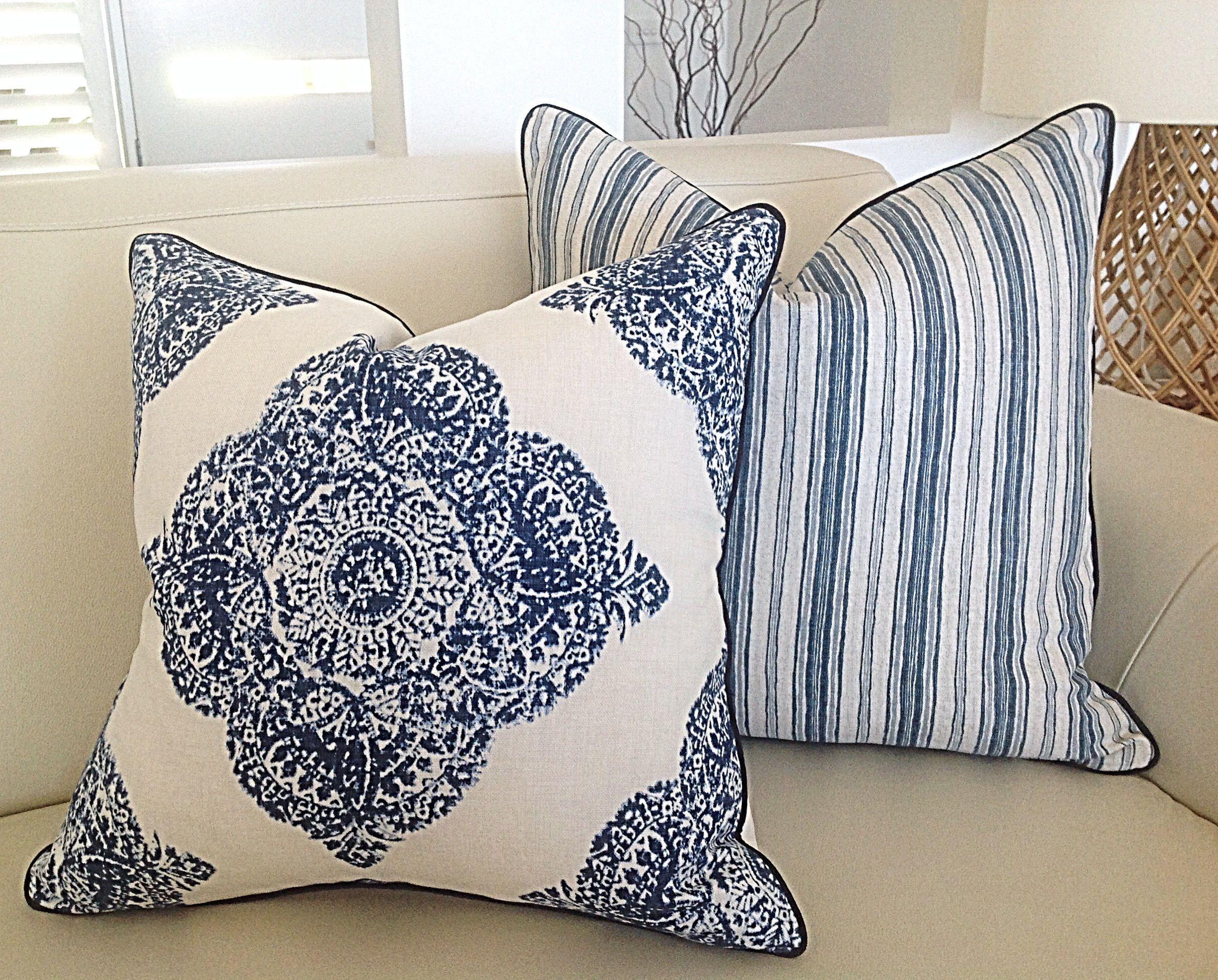 blue and white hampton s cushion covers