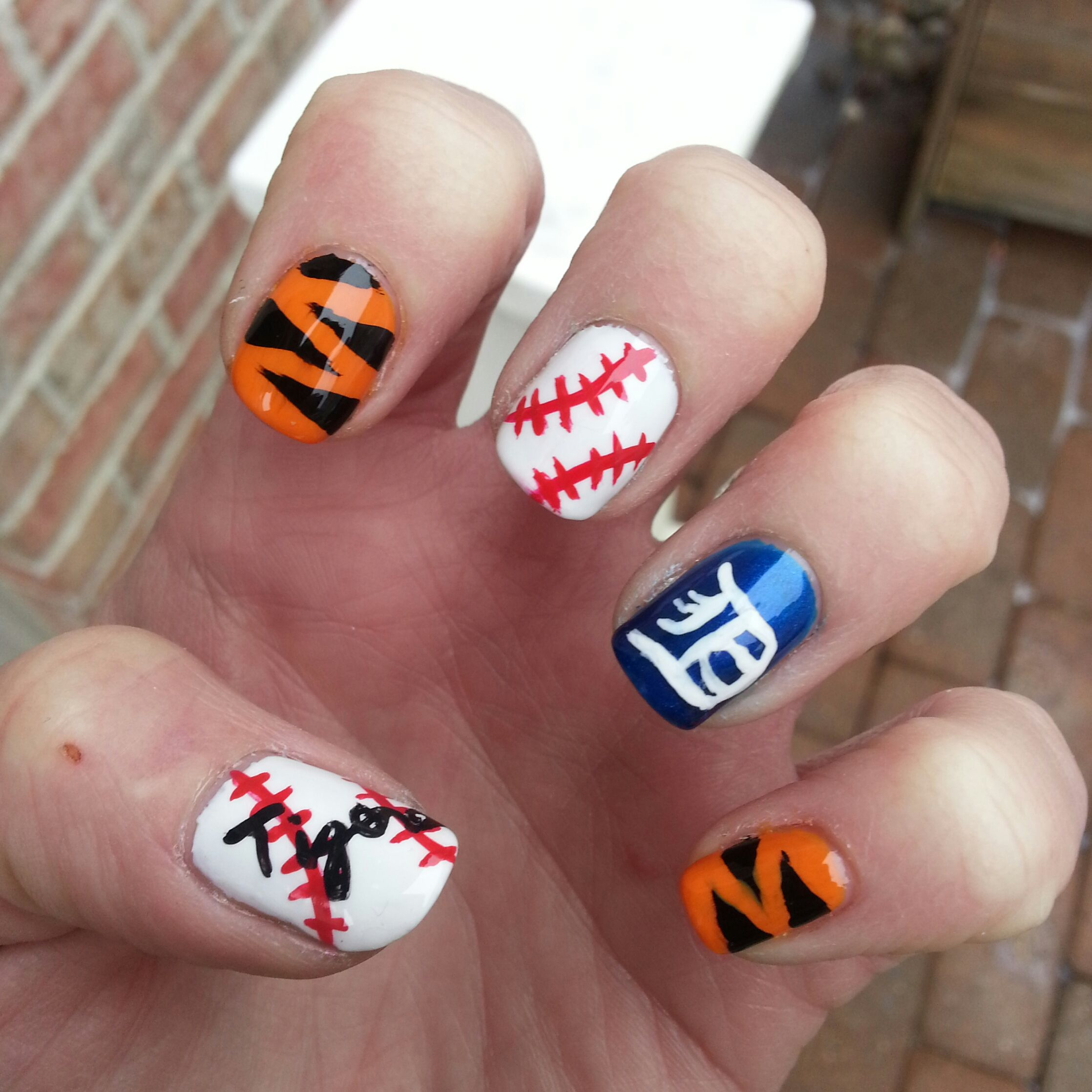 Detroit Tigers Opening Day Nails | My Nail Art | Pinterest | Detroit ...