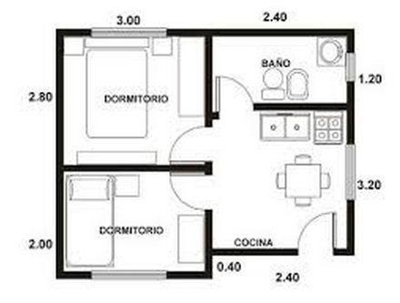 Resultado de imagen para planos de departamentos de 1 for Cuarto de 6 metros cuadrados