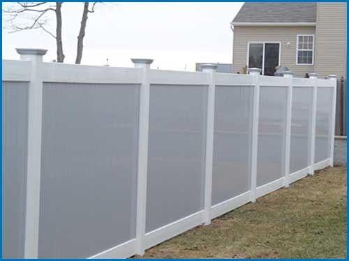 Gray Vinyl Fence White Posts Rails Vinyl Fence Grey Fences