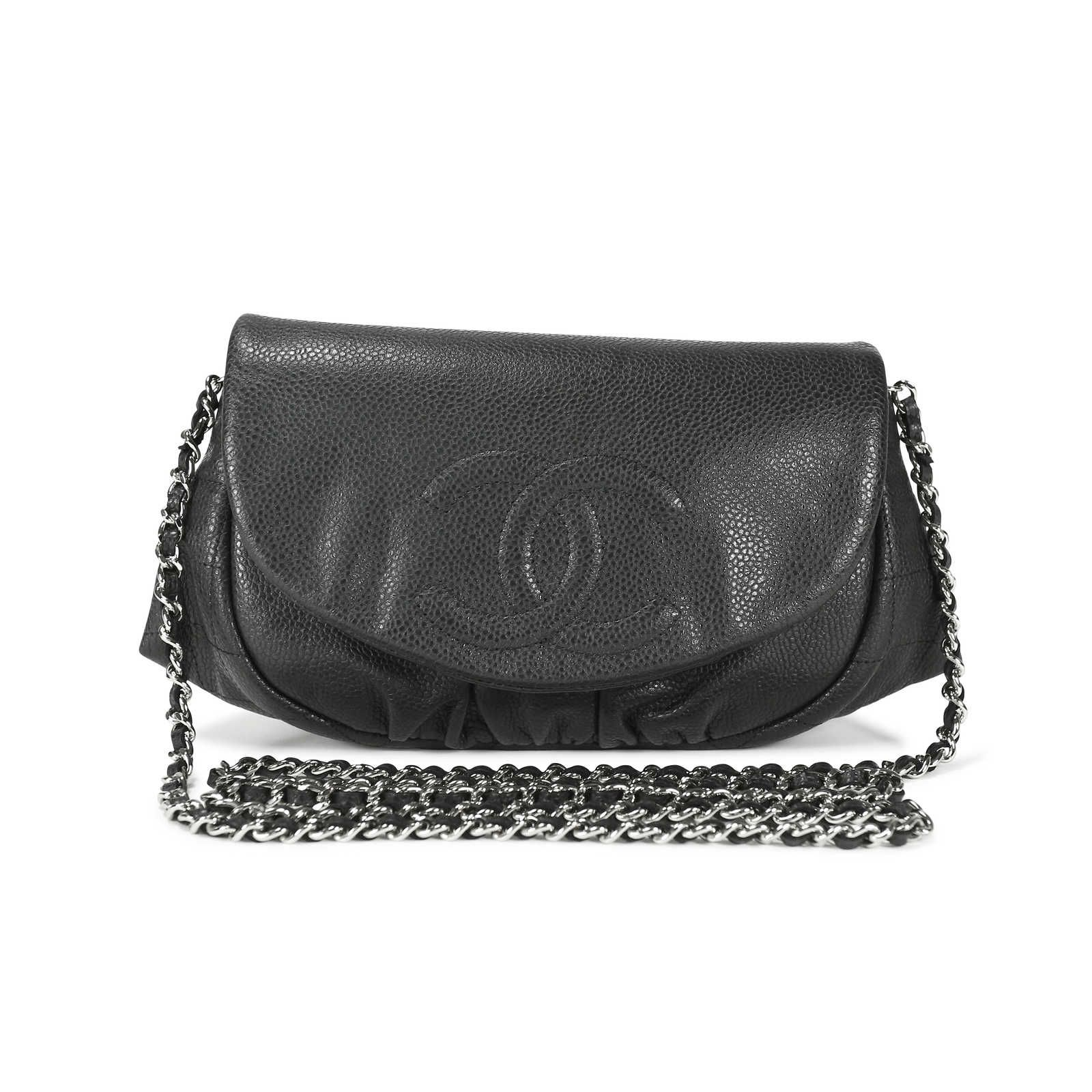 2967ca4ab7a4 Chanel Half Moon Wallet on Chain bag crafted in a black caviar leather.  Designed with a half moon ruched shape which allows it to be roomier than  most of ...