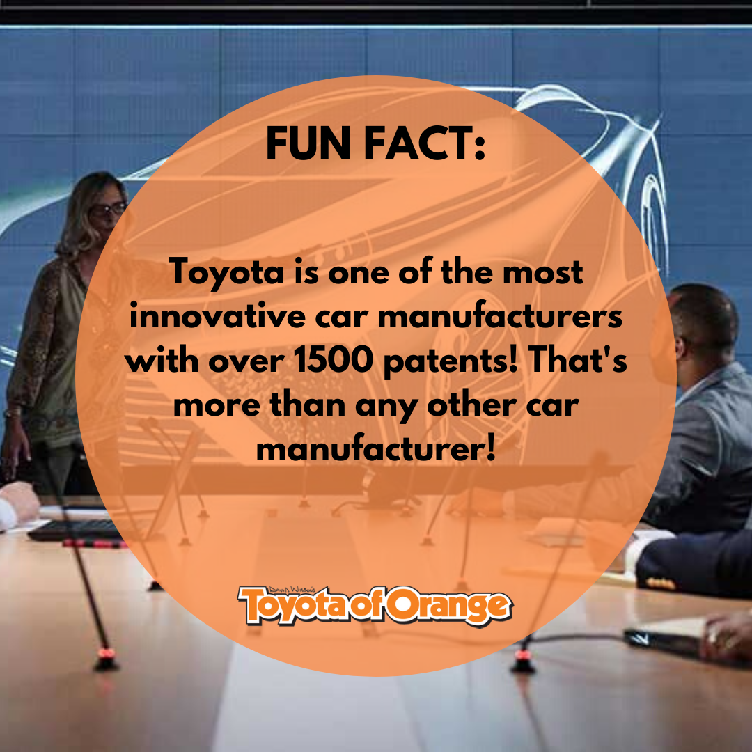 Toyota is all about innovating, that's why they have more patents than any other car manufacturer!  #ToyotaofOrange #Toyota #ToyotaUSA #ToyotaSoCal #SouthernCalifornia #SoCal #ToyotaCars #ToyotaTrucks #Awesome #OC #Orange #OrangeCA #Orangecounty #OrangeCountyCA #funfact #toyotafunfact