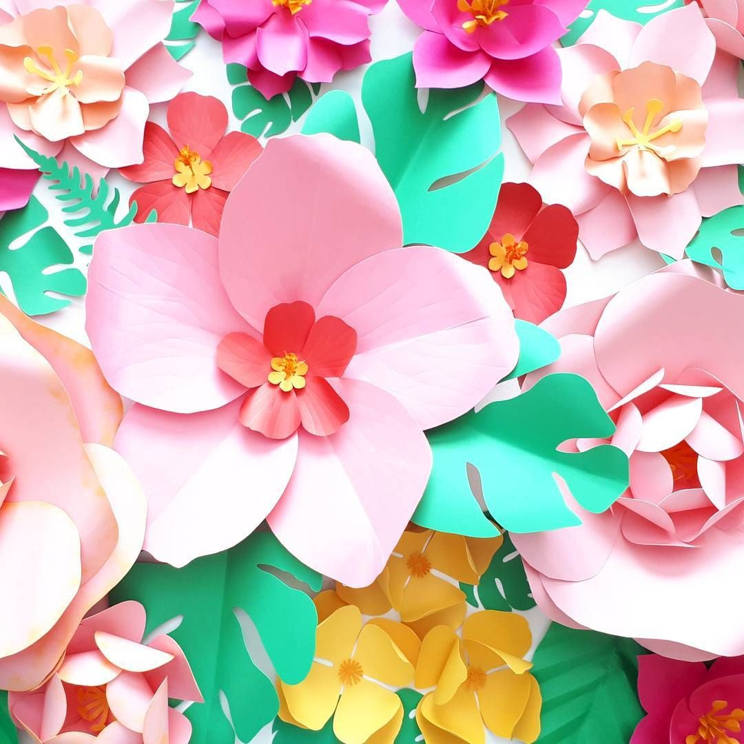 Tropical Inspired Paper Flower Backdrop Tropical Backdrop Photos