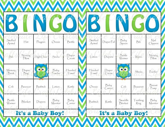 30 Baby Shower Bingo Cards   Printable Party Baby Boy   Instant Download    Carribean Blue Lime Chevron Owl Baby Shower Gift Bingo B001