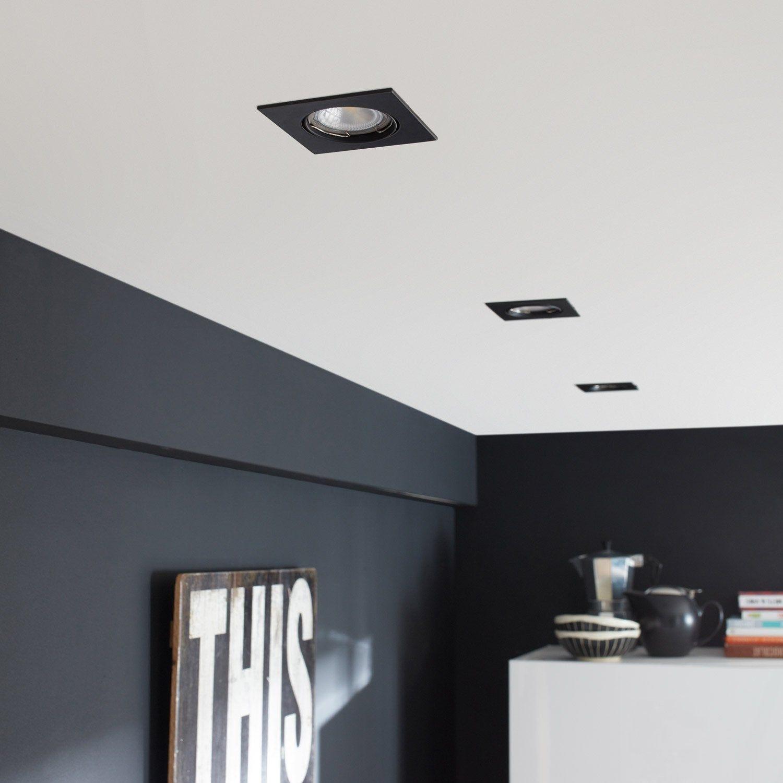 Kit 1 Spot A Encastrer Clane Orientable Led Inspire Gu10 Noir Carre Spot Encastrable Spot Encastrable Spot Salle De Bain Spots