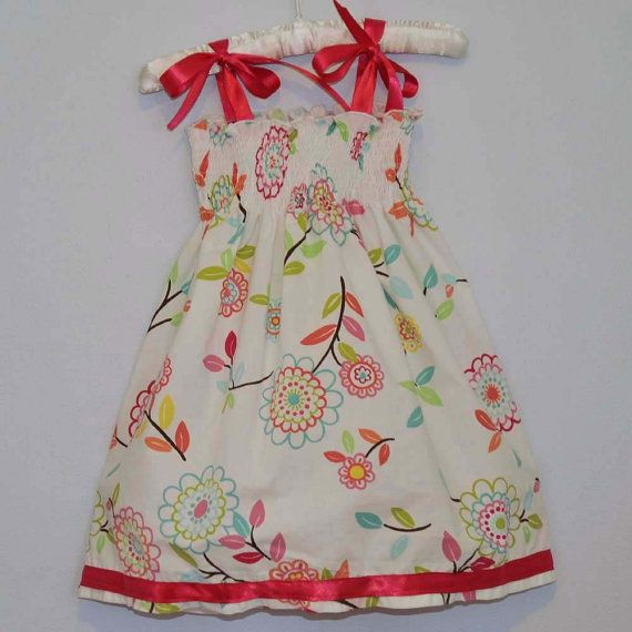 Girl's smocked sundress flower fiesta by SageNThymeDesigns on Etsy, $30.00