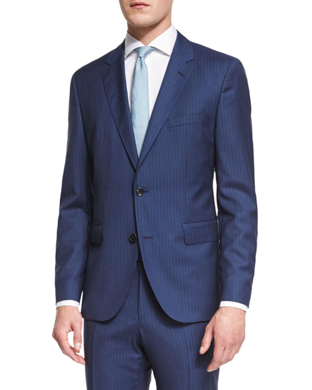 008638188 Johnstons Lennon Striped Slim-Fit Basic Suit, Blue, Men's, Size: 48R (38R  US) - Boss Hugo Boss