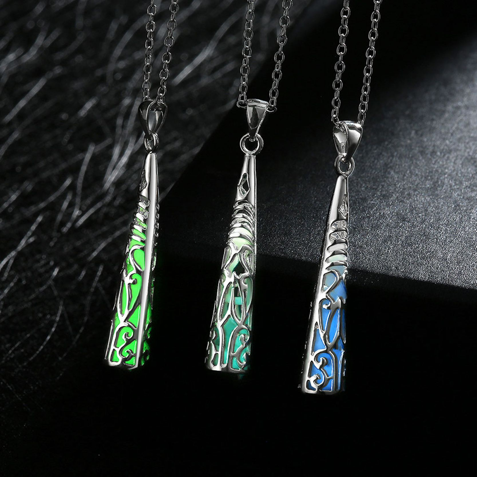 New silver plated chain night necklaces phosphors geometric new silver plated chain night necklaces phosphors geometric glowing in dark pendant choker necklace jewelry for mozeypictures Images