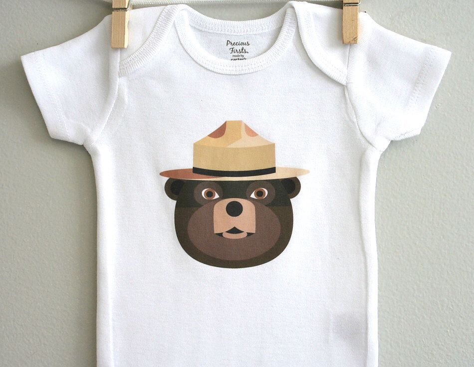Baby boy clothes, smokey the bear. Short or long sleeve. Your choice of size. by squarepaisleydesign on Etsy https://www.etsy.com/listing/127871146/baby-boy-clothes-smokey-the-bear-short