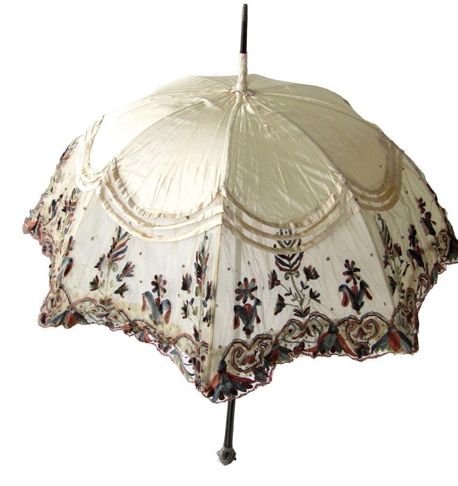Antique Lace Parasol Multicolored Ivory Colored Silk Gorgeous Vintage Umbrella Vintage Umbrella Umbrellas Parasols Lace Parasol