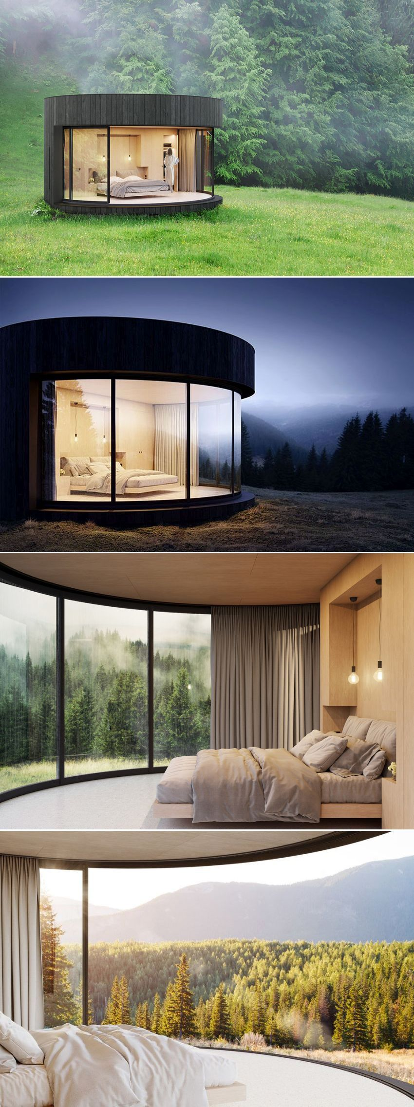LumiPod Prefab Cabin With Curved Glass is Modern Nature Retreat