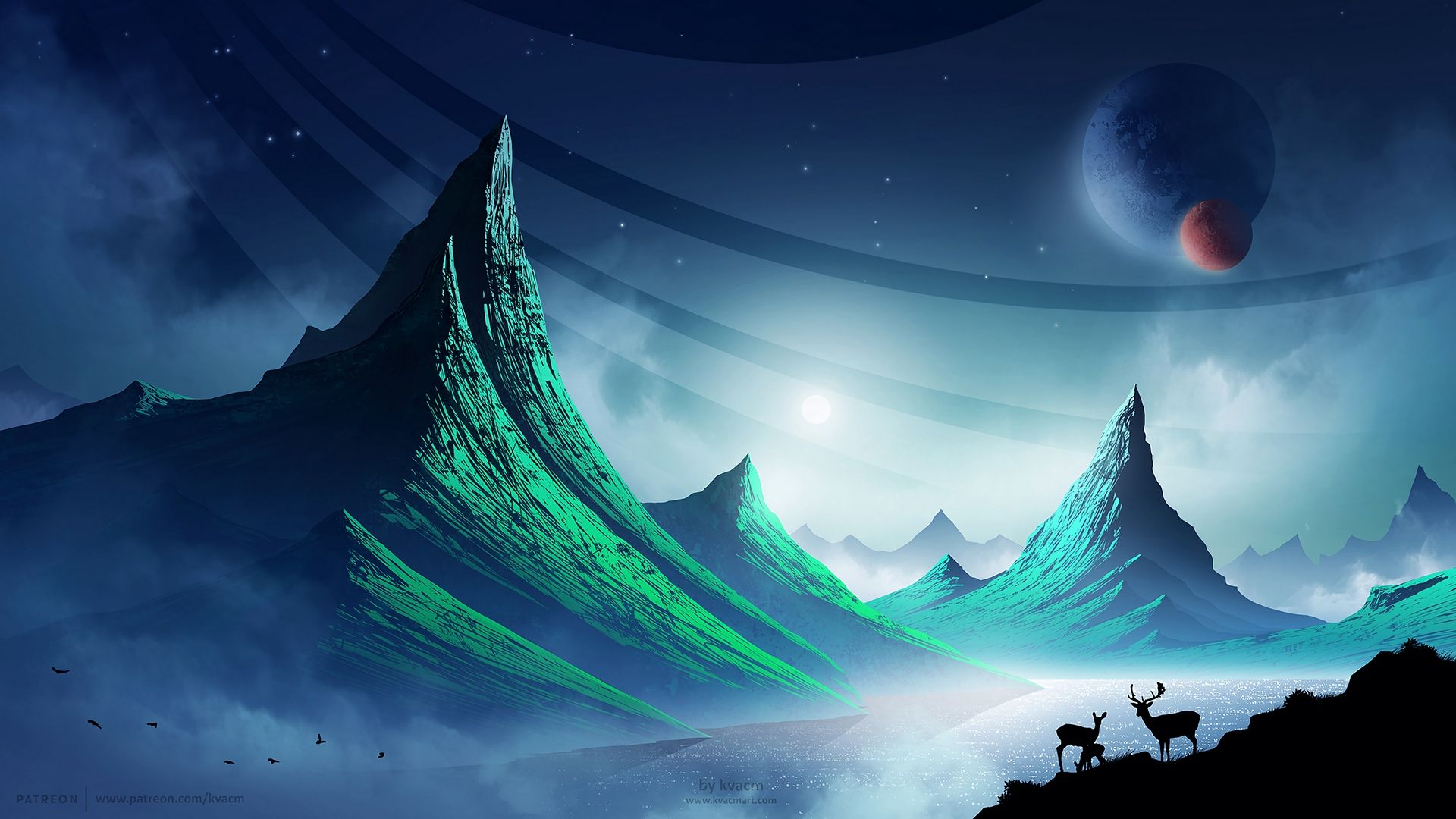 Fantasy Animals In 2020 Night Landscape Art Wallpaper Art