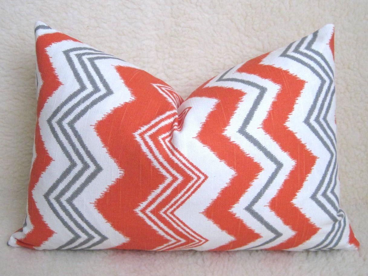 Decorative Ikat Chevron Pillow Orange White Gray x inch