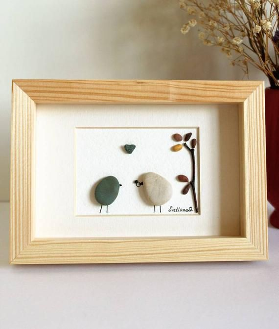 Pebble art birds. Unique Engagement gift. Wedding anniversary gift for wife or husband. Valentine's Day romantic gift gift for him or her.