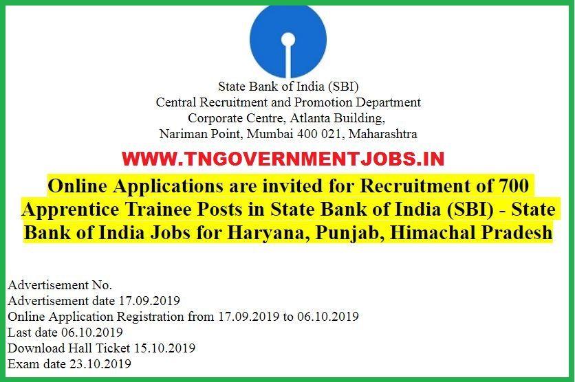 State Bank of India Trainee Job for Haryana, Punjab