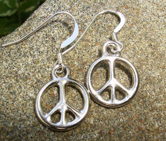 Silver Peace Sign Earrings 925 Sterling By Bonartsstudio