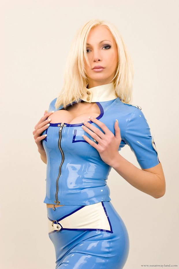 Stewardess blonde busty