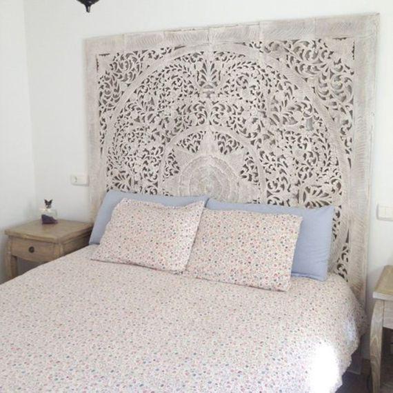 Queen Bed Headboard 60 5ft Sculpture Lotus Flower Wooden In 2020 Wooden King Size Bed White Headboard King Size Bed Headboard