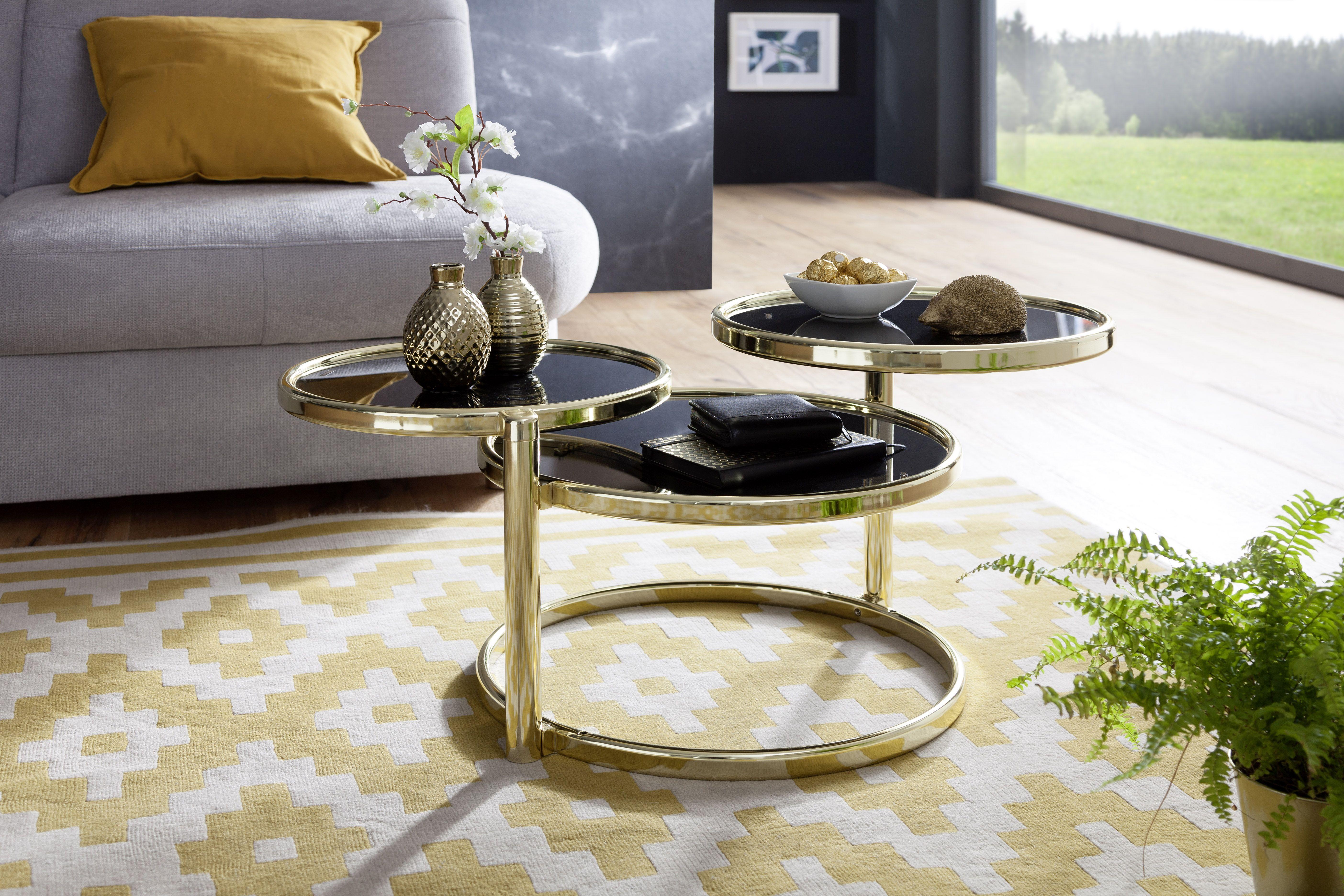Wohnling Beistelltisch Susi Wl5 767 Aus Schwarzem Glas Mit Gold Gestell Wohnzimmer Glas Modern Design Dekoration Wohnzimmertische Wohnzimmertisch Tisch
