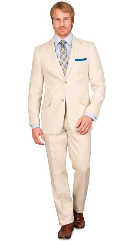 SuitUSA.com SKU#SLM3 Slim Fit Linen Suit - Natural $275 | Gatsby ...