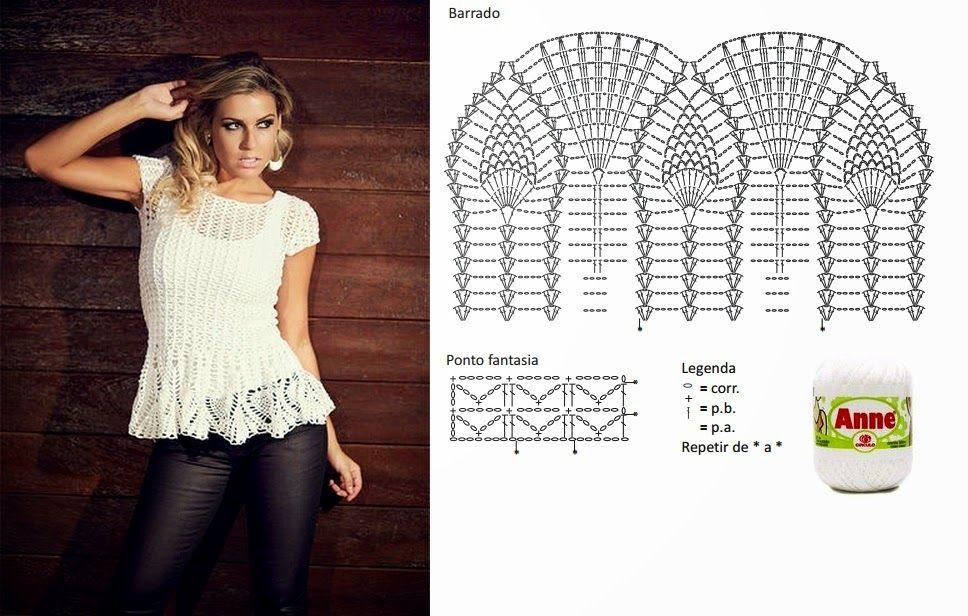 Encantados modelos de temporada para tejer mediante moldes | Blusa ...