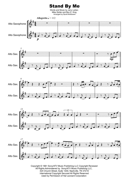 Stand By Me Duet For Two Alto Saxophones Sheet Music Download