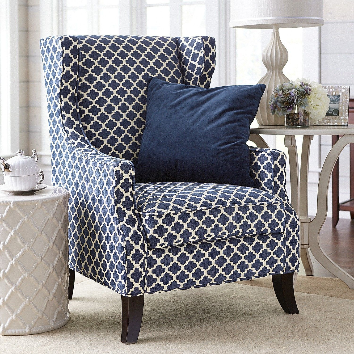 Alec Navy Blue Trellis Wing Chair Living Room Chairs Navy