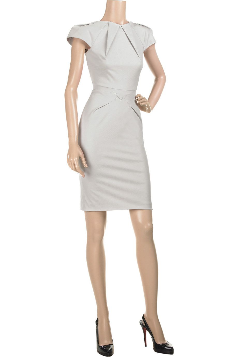 Rm By Roland Mouret Moon Tail Dress 96 Cotton 4 Elastane Dry Clean Uk 8 Dove Gray Stretch Knee Length Ed